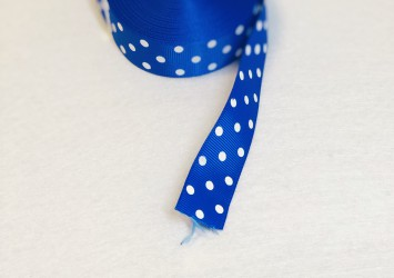 Satin ribbon dotted Blue 1m