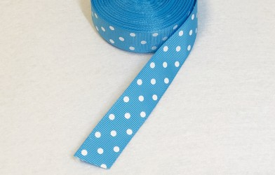 Satin ribbon dotted Baby blue 1m