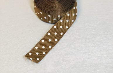 Satin ribbon dotted Brown 1m