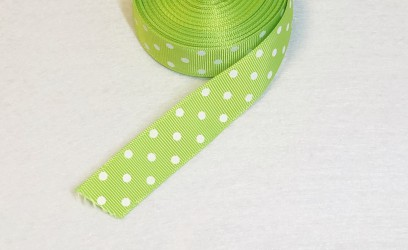 Satin ribbon dotted Green ąm