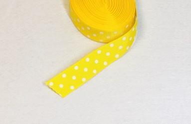 Satin ribbon dotted yellow 1m