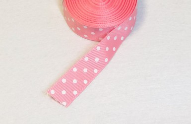 Satin ribbon dotted Pink 1m