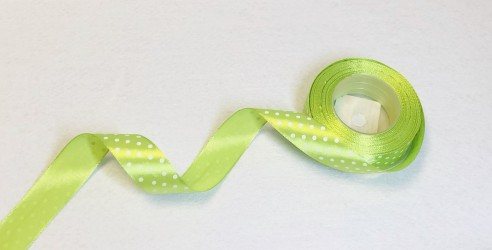 Satin ribbon dotted green 1m