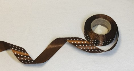Satin ribbon dotted dark brown 1m