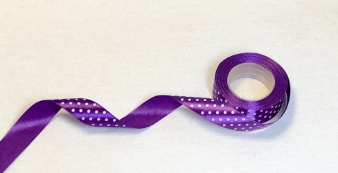Satin ribbon dotted Violet 1m