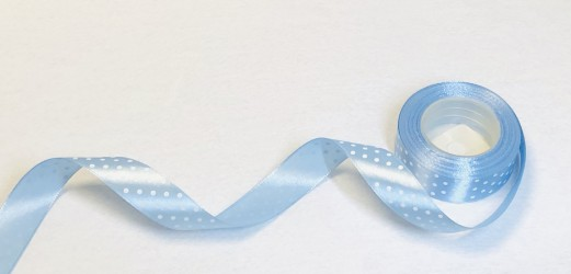 Satin ribbon dotted light blue 1m