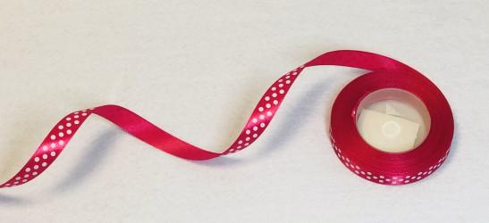 Satin ribbon dotted dark pink 1m
