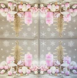 Servetėlė Rožinės žvakės