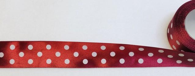 Satininės juostelė taškuota Bordinė/burgundy (3,8cm...