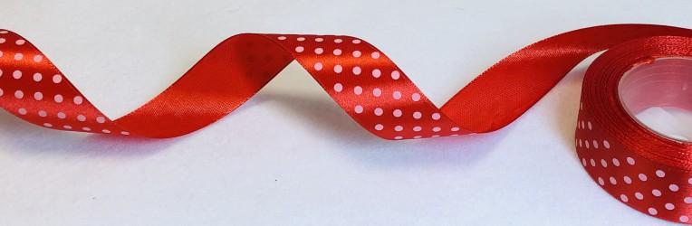 Satininės juostelė taškuota Raudona (2,5cm pločio, 1m)