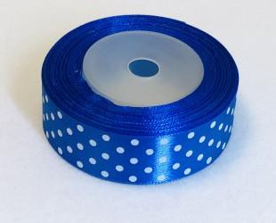 Satin ribbon Dotted Royal blue (2,5cm width, 18m)