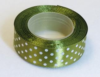 Satin ribbon Dotted Dark olive (2,5cm width, 18m)