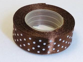 Satin ribbon Dotted Brown (2,5cm width, 18m)
