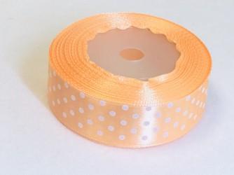 Satin ribbon Dotted Salmon (2,5cm width, 18m)