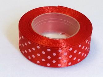 Satininės juostelė taškuota Raudona (2,5cm pločio, 18m)