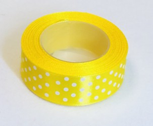 Satin ribbon Dotted Yellow (2,5cm width, 18m)