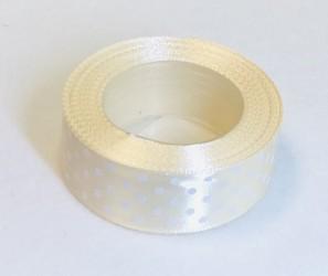 Satin ribbon Dotted Cream (2,5cm width, 18m)