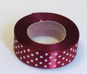 Satin ribbon Dotted Burgundy (2,5cm width, 18m)