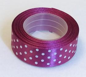 Satin ribbon Dotted Plum (2,5cm width, 18m)