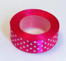 Satin ribbon Dotted Amarant (2,5cm width, 18m)