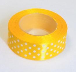 Satininės juostelė taškuota Tamsiai geltona (2,5cm...