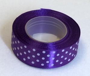 Satininės juostelė taškuota Violetinė (2,5cm pločio, 18m)