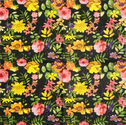 Servetėlė Gėlės (juodas fonas)