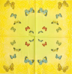Servetėlė Drugeliai (geltonas fonas)