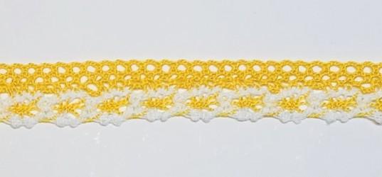 Medvilninė juostelė Geltona/balta (1 m, 2cm)