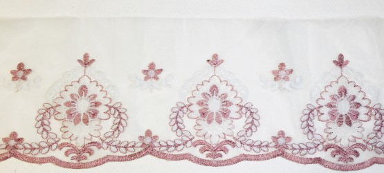 Lace trim 19cm width pink/white