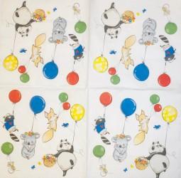 Servetėlė Gyvūnėliai su balionais